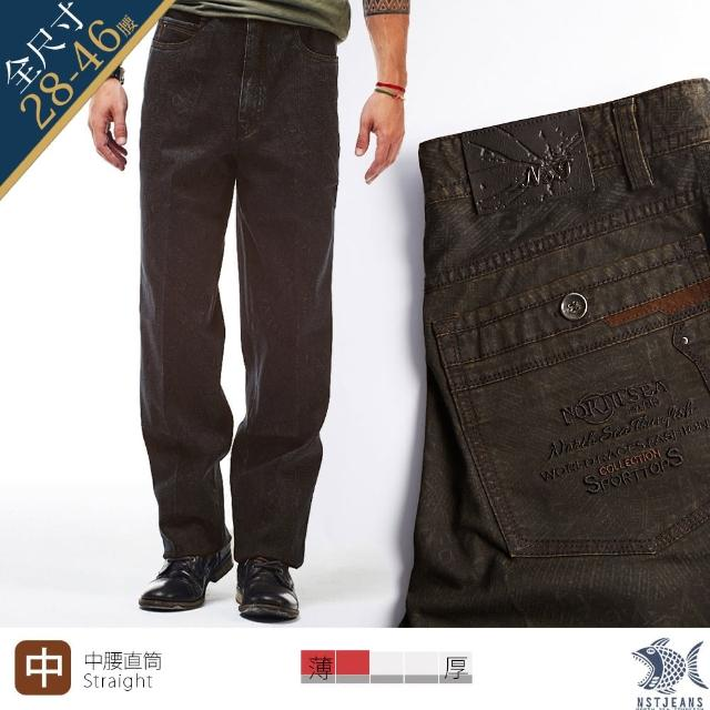 【NST JEANS】特大小尺碼 悶騷的華麗 民族印花咖啡黑長褲-中腰直筒(395-3823)