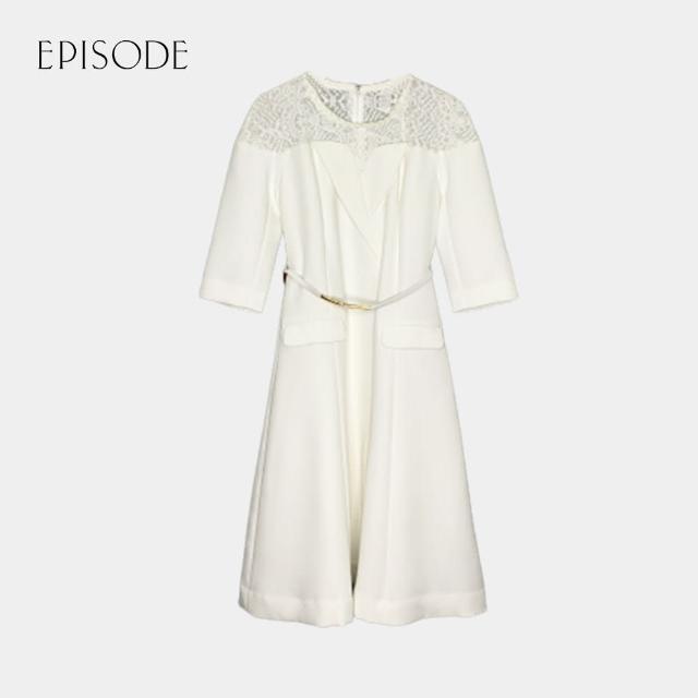 【EPISODE】氣質圓領中袖蕾絲肩腰帶修身洋裝(白色)
