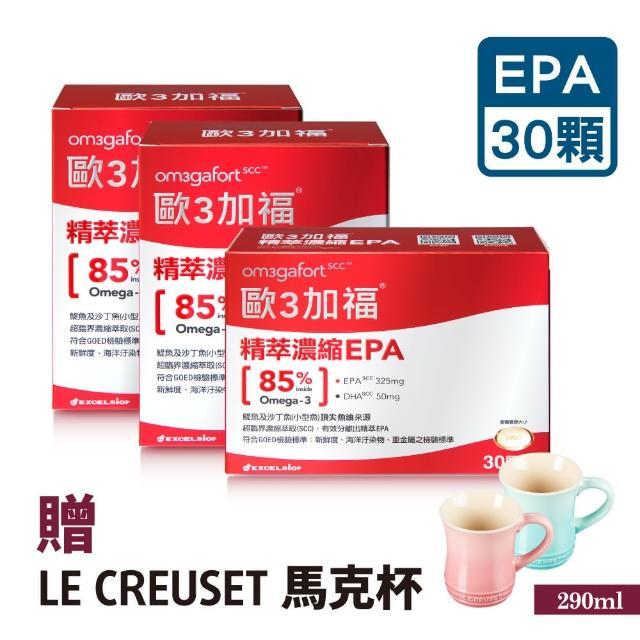 【Om3gafort 歐3加福】精萃濃縮魚油EPA 3入組(30顆X3)