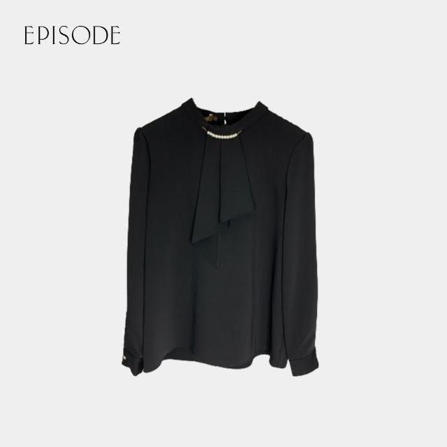 【EPISODE】浪漫飄帶優雅百搭輕柔透氣長袖雪紡上衣(黑)