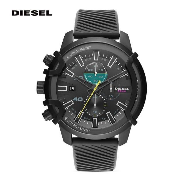 【DIESEL】Griffed 時間框架計時手錶 黑色矽膠錶帶 48MM DZ4520