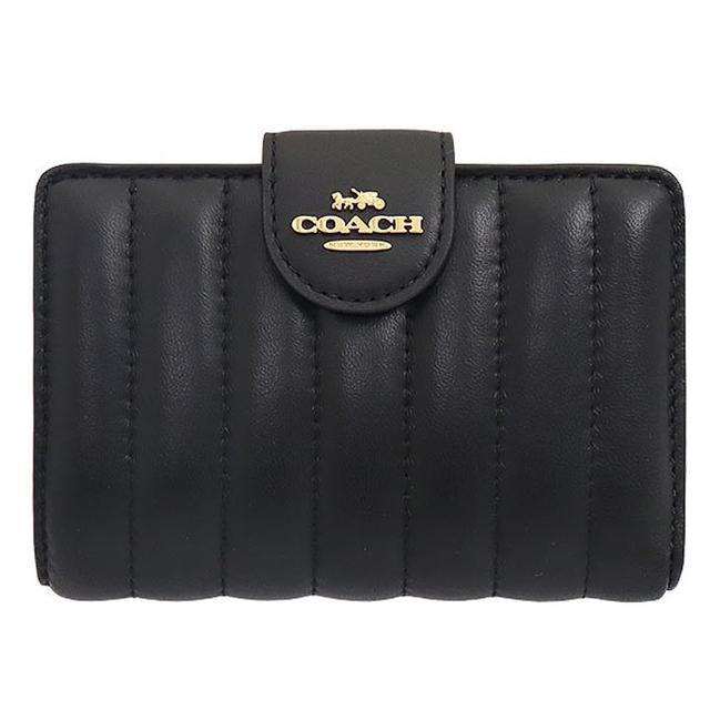 【COACH】黑色皮革直條壓紋釦式拉鍊中夾