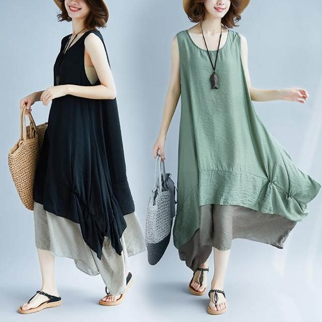 【Keer】慵懶不規則裙襬寬鬆無袖背心裙-F(共三色)