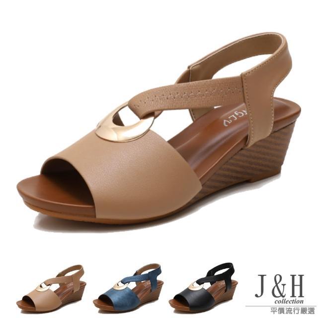 【J&H collection】歐美時尚金屬扣休閒涼鞋(現+預 黑色 / 杏色 / 藍色)