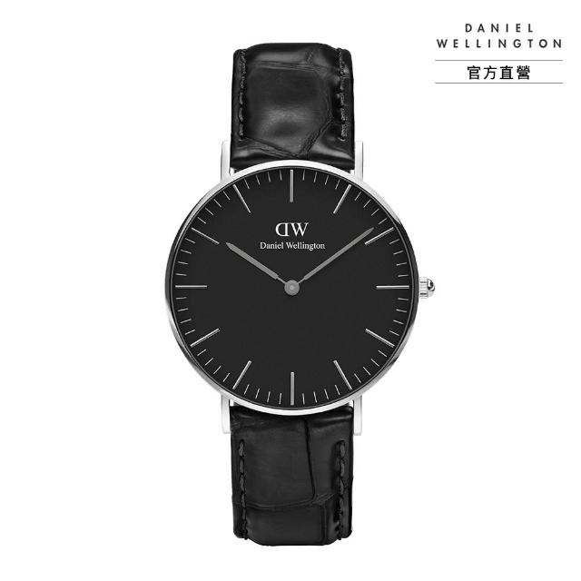 【Daniel Wellington】官方直營 Classic Reading 36mm爵士黑壓紋真皮錶 絕版(DW手錶 DW00100147)