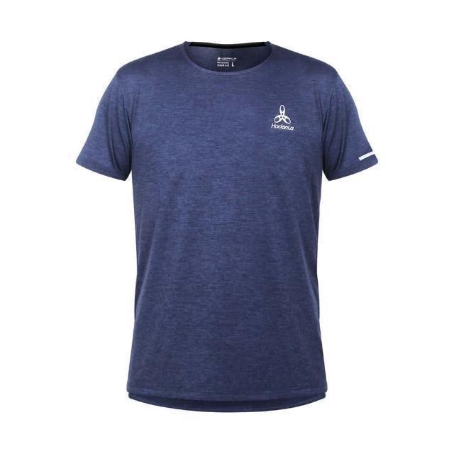 【HODARLA】男女辰光剪接短袖T恤-台灣製 吸濕排汗 慢跑 路跑 上衣 反光 運動 麻花丈青(3161502)
