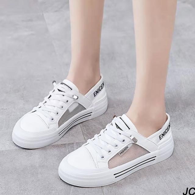 【JC Collection】優質牛皮拼搭透氣網布輕盈舒適綁帶運動休閒鞋(白色)