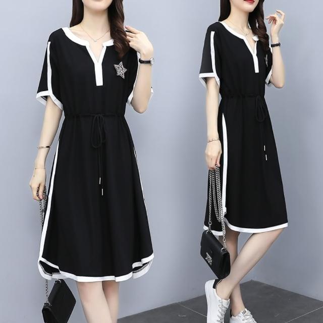 【KVOLL】黑色休閒運動風撞色連身裙L-4XL