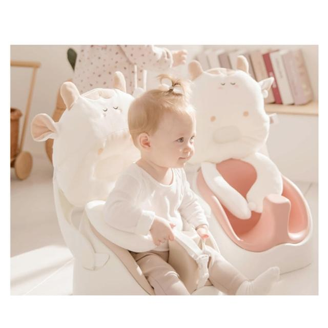 【JellyMom】韓國製全新設計多功能組合式幫寶椅/兒童用餐椅超組合組(幫寶椅+牛牛靠枕+安全帶)