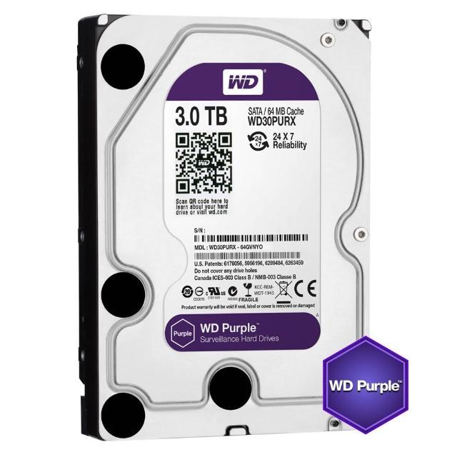 【搭SanDisk 64GB 記憶卡】WD 威騰 紫標 3TB 監控專用 3.5吋 SATA硬碟(WD30PURZ)