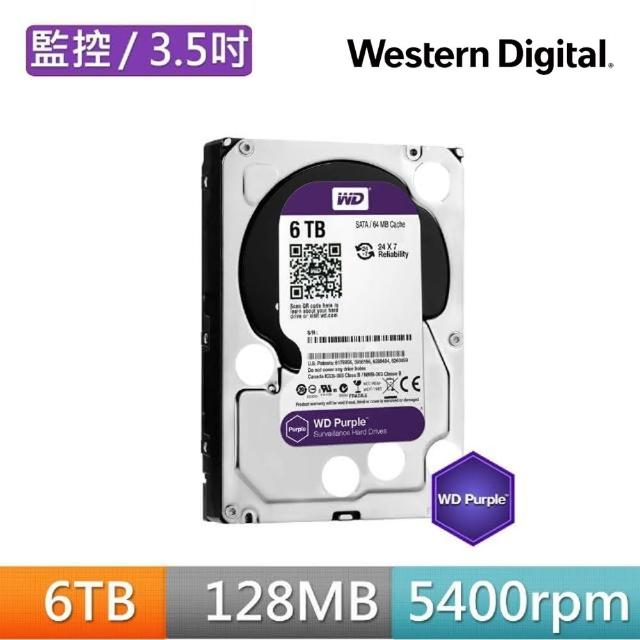 【搭SanDisk 128GB 記憶卡】WD 威騰 紫標 6TB 3.5吋監控系統硬碟(WD62PURZ)