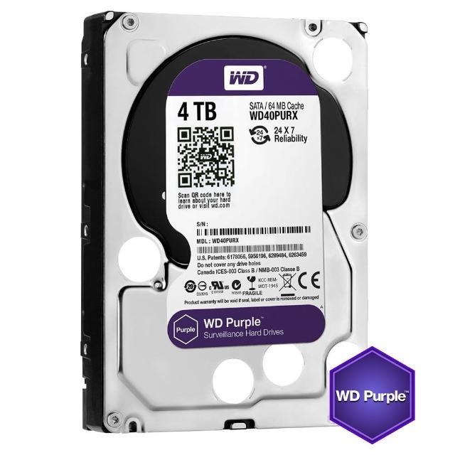 【搭SanDisk 64GB 記憶卡】WD 威騰 紫標 4TB 3.5吋監控系統硬碟(40PURZ)