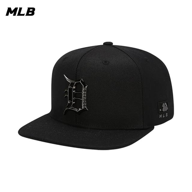 【MLB】平沿帽 棒球帽 金屬質感Logo 底特律老虎隊 可調整(32CP57111-46L)