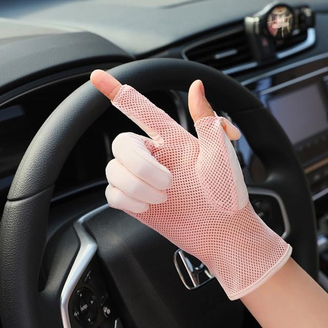 【EZlife】冰絲涼感翻蓋露指防曬手套1雙組(贈防曬袖套1雙)