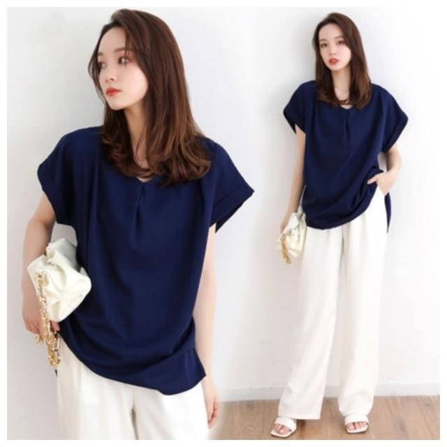 【ASister 小姊姊】加大尺碼日系短袖V領雪紡衫(3色 45-65kg)
