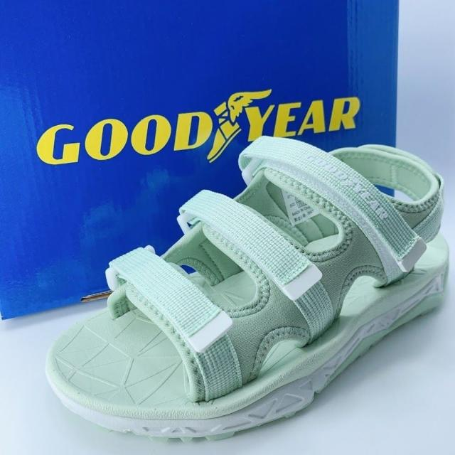 【樂樂童鞋】GOODYEAR女款彈力運動涼鞋-綠色-G012(女童鞋 涼鞋 大童鞋 沙灘鞋)