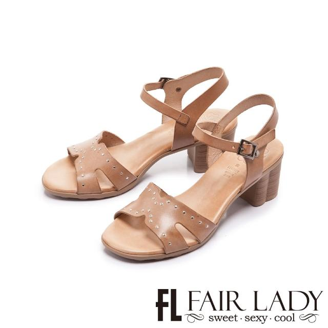 【FAIR LADY】盛夏 PORRONET 植鞣皮革寬帶粗跟涼鞋(卡其、222375)