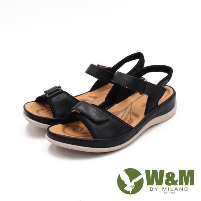 【W&M】女 牛皮休閒黏釦帶 厚底輕量涼鞋 女鞋(黑)