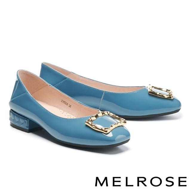 【MELROSE】復古質感金屬方釦全真皮方頭低跟鞋(藍)