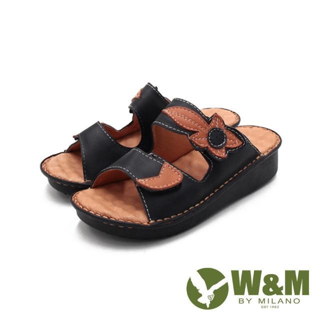 【W&M】女 皮革黏釦帶 厚底雙帶拖鞋 女鞋(黑)