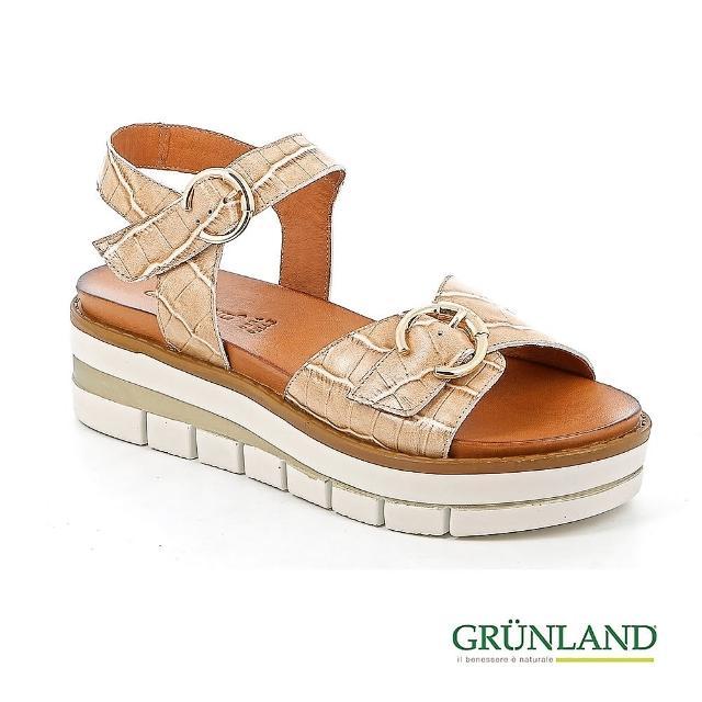 【GRUNLAND】義大利真皮鱷魚壓紋蛋糕厚底個性涼鞋 珍珠米(義大利進口健康舒適鞋 限量款)