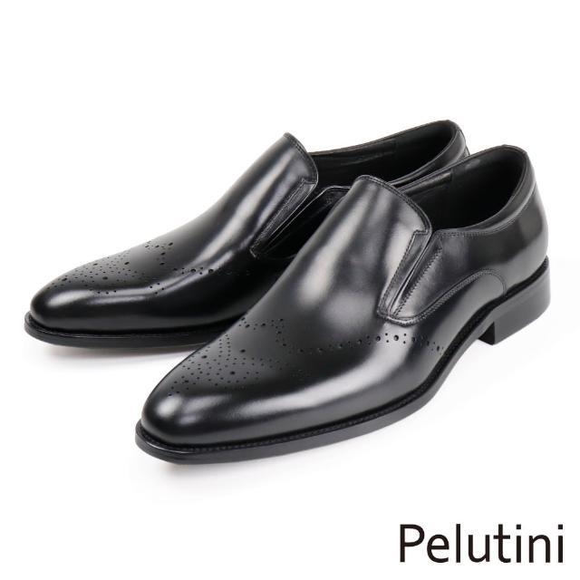 【Pelutini】時尚質感雕花樂福鞋 黑色(8745-BL)