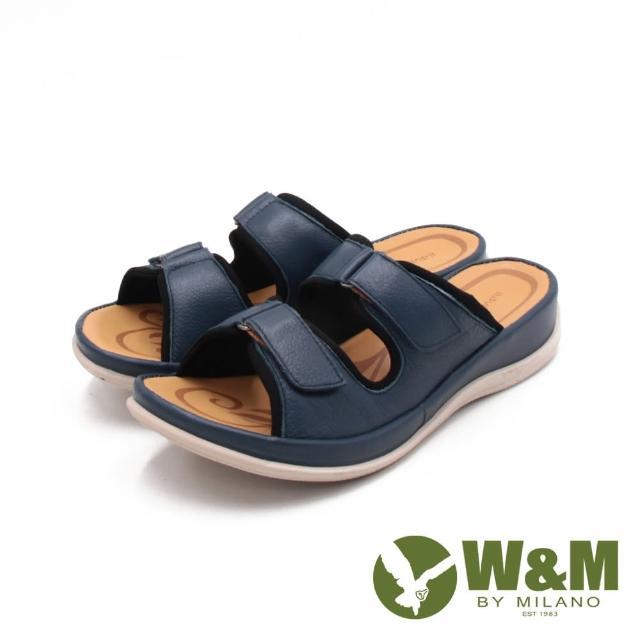 【W&M】女 皮革黏釦帶 厚底雙帶拖鞋 女鞋(霧感藍)