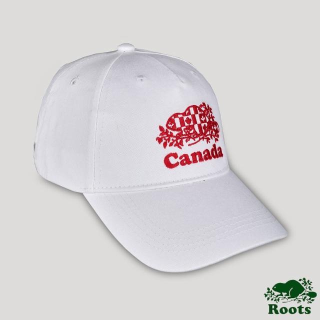 【Roots】Roots配件-愛最大加拿大日系列 國旗海狸刺繡棒球帽(白色)