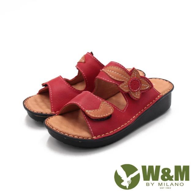 【W&M】女 霧感皮革黏釦帶 厚底休閒拖鞋 女鞋(紅)