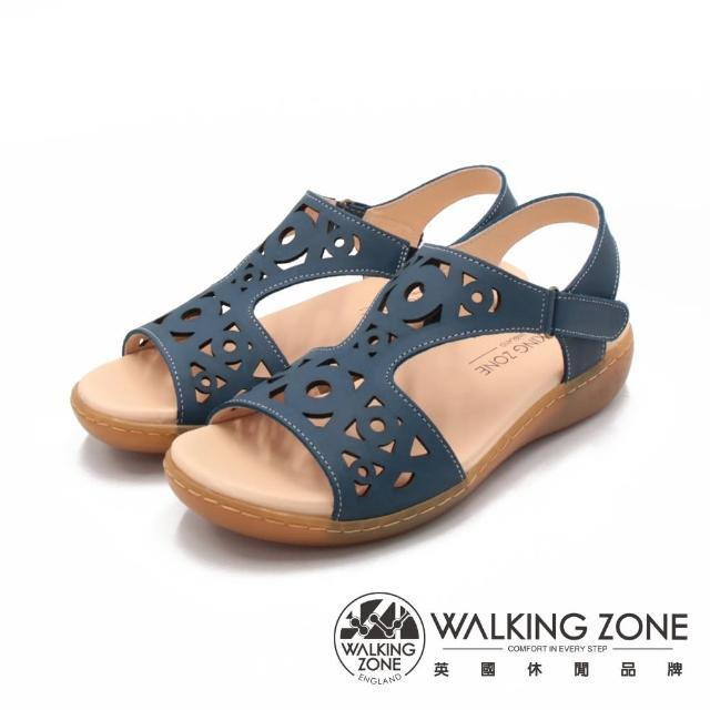 【WALKING ZONE】女 淑女縷空黏釦帶 止滑休閒涼鞋 女鞋(藍)