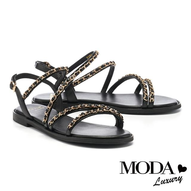 【MODA Luxury】時髦金屬鏈條羊皮平底涼鞋(黑)