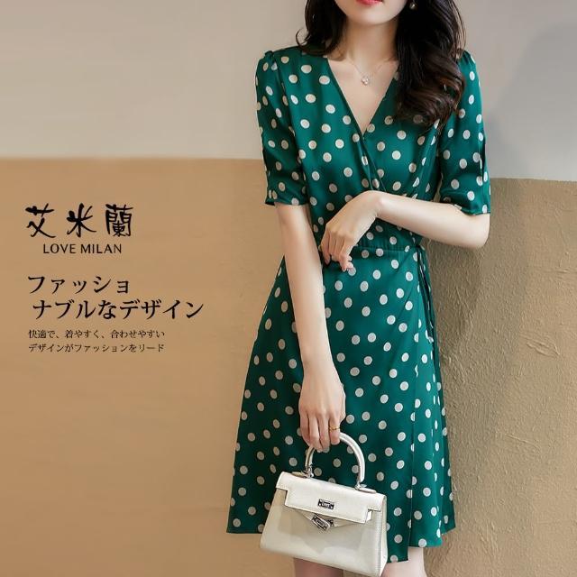 【艾米蘭】韓版個性甜美圓點造型洋裝(M-XL)