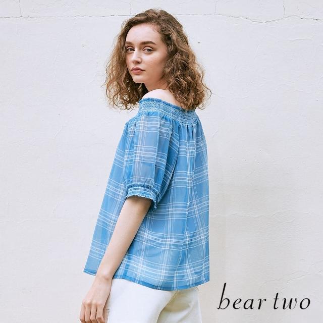 【bear two】涼爽紗質格紋仿開襟上衣(兩色)