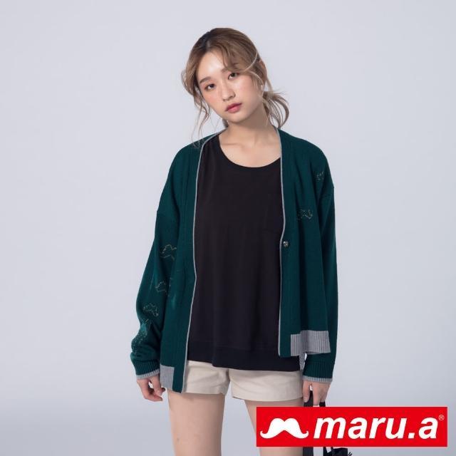 【maru.a】閃亮鬍子撞色單扣針織外套(深綠)