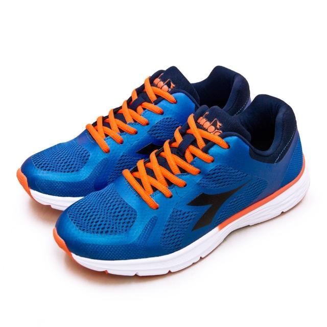 【DIADORA】男 迪亞多那 專業輕量避震慢跑鞋 輕跑彈力系列(藍橘 73125)