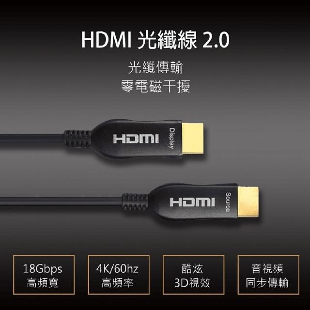 【Active Optica Cable】AOC 4k光纖 2.0版高清支援3D傳輸(5米 HDMI線)