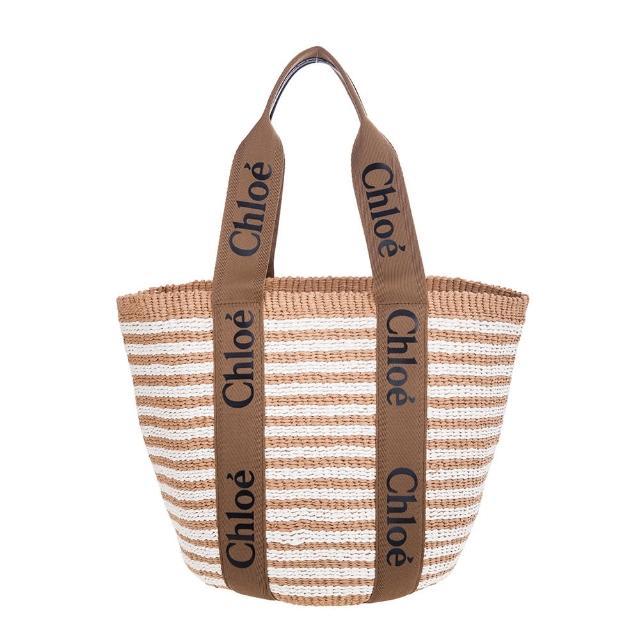 【Chloe' 蔻依】新款Woody BORSA CESTO GRANDE編織紋LOGO背帶手提/托特包(棕褐色)