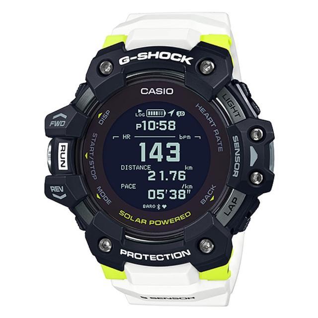 【CASIO 卡西歐】G-SHOCK 健身好捧由心率偵測藍芽智慧運動電子錶-黑X白(GBD-H1000-1A7)
