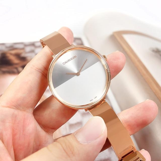 【Calvin Klein 凱文克萊】晨曦系列 優雅迷人 超薄 手環式 不鏽鋼手錶 銀白x鍍玫瑰金 38mm(K7A23646)