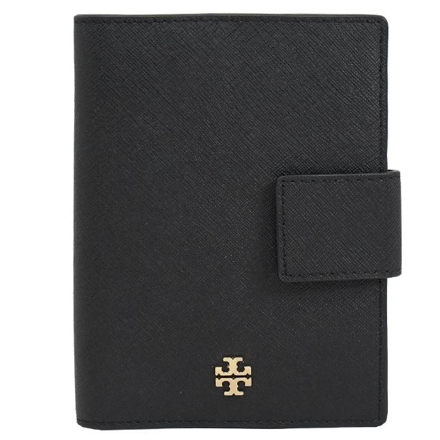 【TORY BURCH】金屬字母T素雅證件信用卡護照夾短夾(黑)