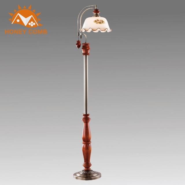 【Honey Comb】古典原木玻璃落地燈(BL-31871)