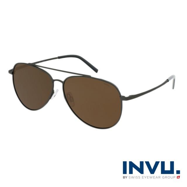 【INVU】瑞士時尚水滴型飛行員偏光太陽眼鏡(鐵灰 B1121B)