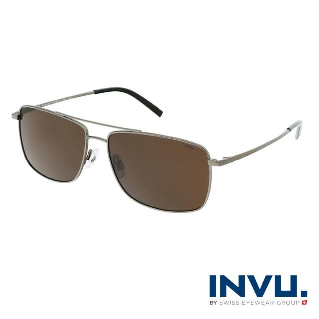 【INVU】瑞士俐落感方框飛行員偏光太陽眼鏡(鐵灰 B1120B)
