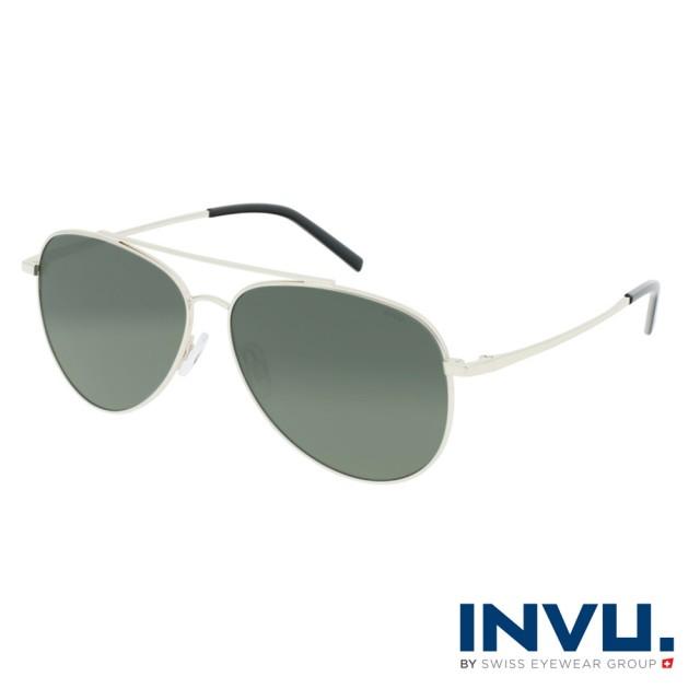 【INVU】瑞士時尚水滴型飛行員偏光太陽眼鏡(金 B1121C)
