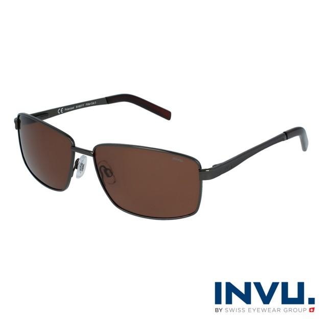 【INVU】瑞士時尚沉穩偏光太陽眼鏡(鐵灰 B1607F)