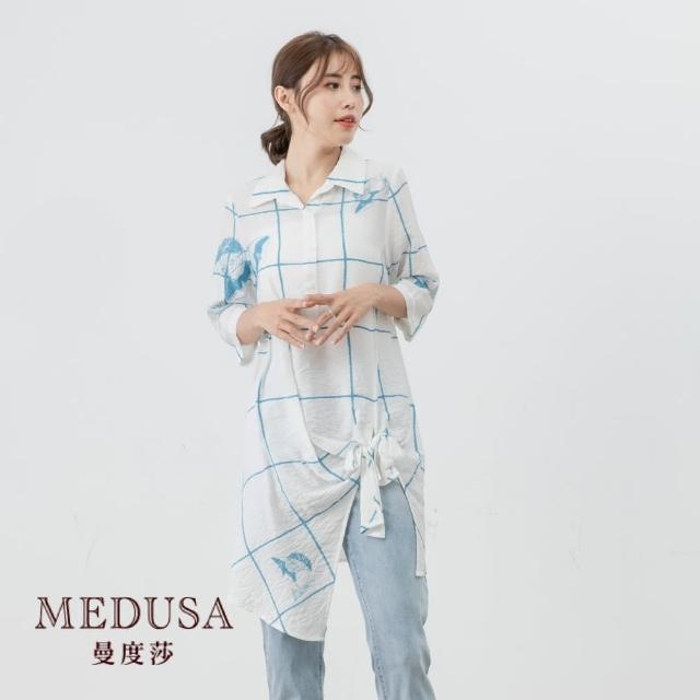 【MEDUSA 曼度莎】綁結大格紋天絲棉襯衫(M-2L) 上班穿搭 職場穿搭 高級天絲棉材質(601-16101)