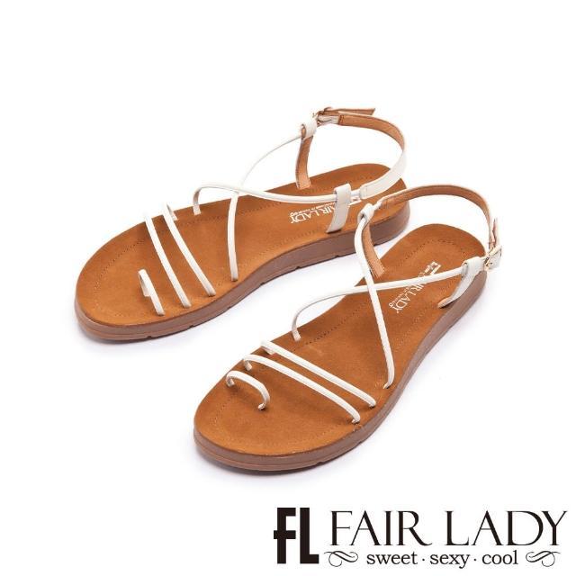 【FAIR LADY】盛夏 細帶線條繞趾平底涼鞋(白、102411)