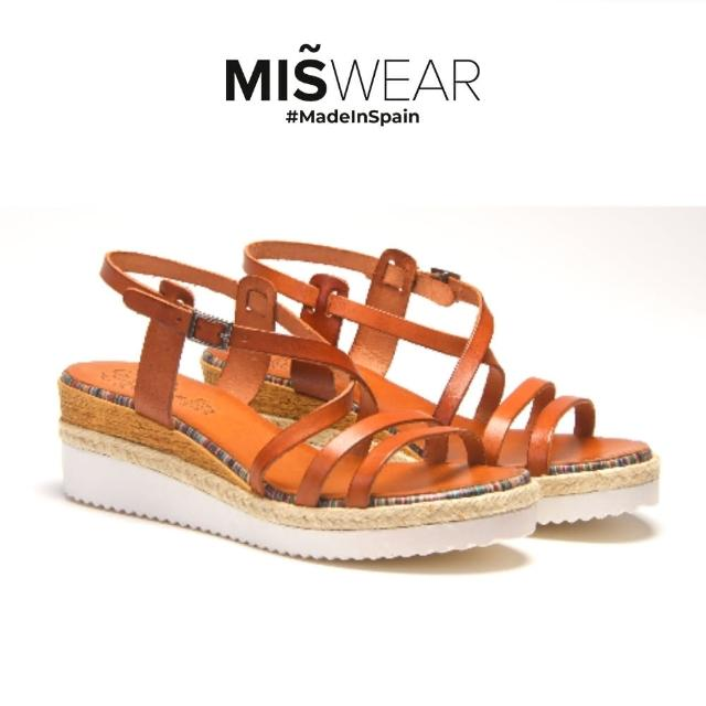 【MISWEAR】Porronet 真皮一字繞帶楔型涼鞋-棕
