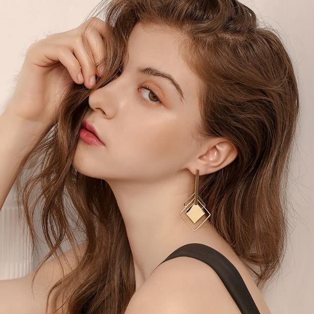 【AQ】925純銀 幾何菱形設計感耳環/耳針(AMOR Quenby/飾品/菱形)