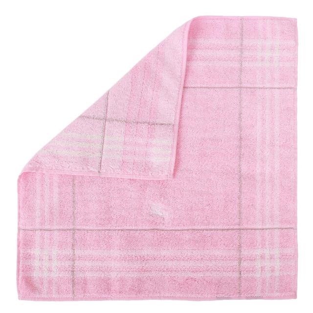 【BURBERRY 巴寶莉】經典格紋戰馬LOGO純棉方巾(粉紅色)
